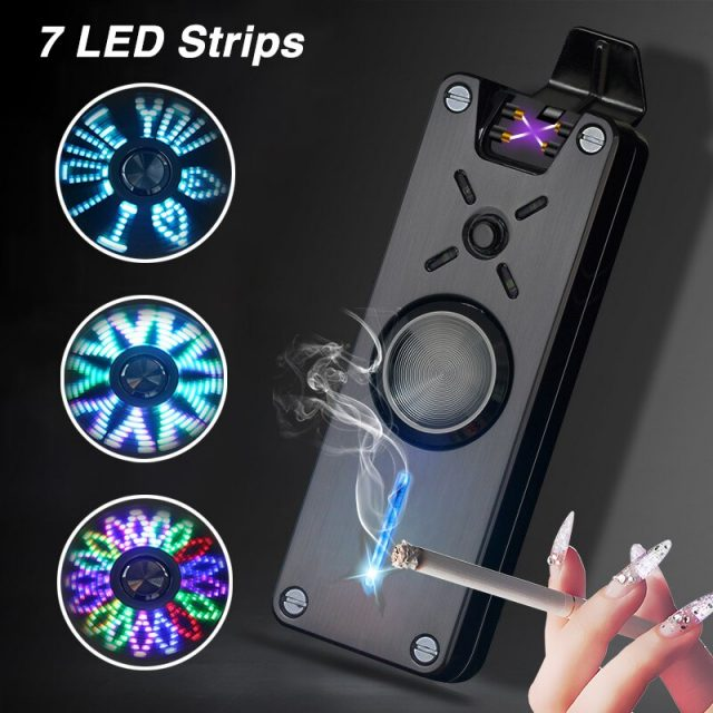 Fidget Spinner USB  7 LED Strips Double Arc Plasma Lighter Windproof