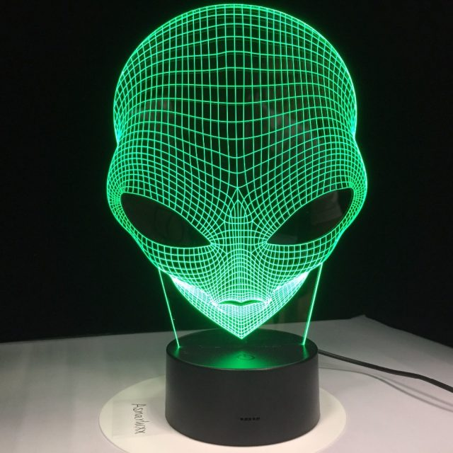 7 Colors 3D Hologram Illusion Pop-eyed Alien Shape Acrylic Night Light With Touch Switch Luminaria GX265