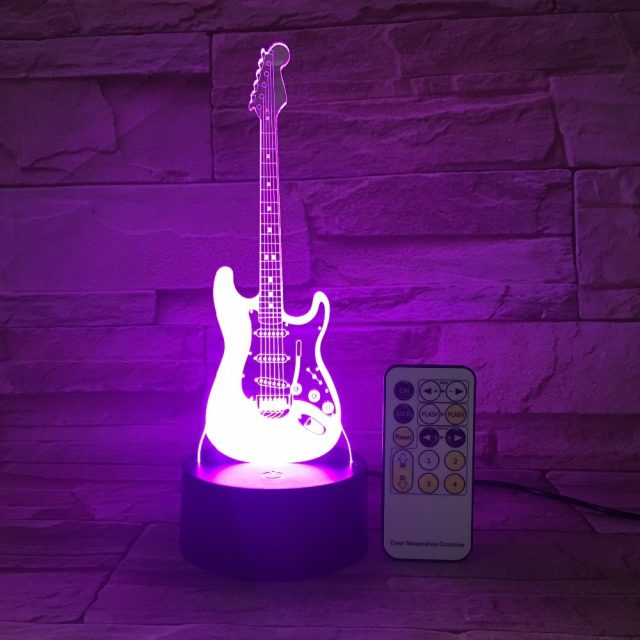 Guitar Night Light 3D LED Lamp 7 Color  USB Touch Control