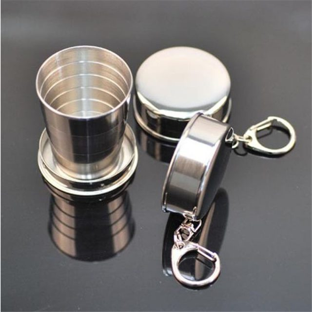Telescopic Collapsible Stainless Steel Shot Glass Key Ring