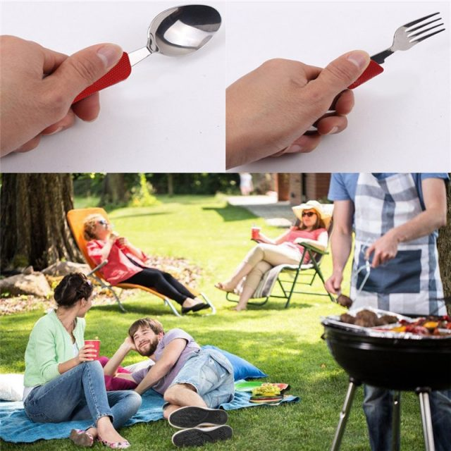 4 in 1 Outdoor Tableware (Fork/Spoon/Knife/Bottle Opener) Stainless Steel Folding Pocket Kit